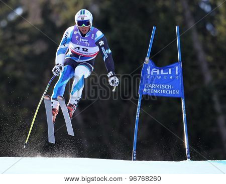 GARMISCH PARTENKIRCHEN, GERMANY. Feb 10 2011: Ferran Terra (SPA) takes to the air competing in the men's downhill training at the 2011 Alpine Skiing World Championships