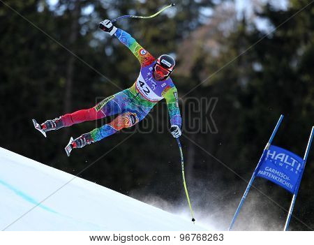 GARMISCH PARTENKIRCHEN, GERMANY. Feb 10 2011: Mirko Deflorian (MDA) takes to the air competing in the men's downhill training at the 2011 Alpine Skiing World Championships