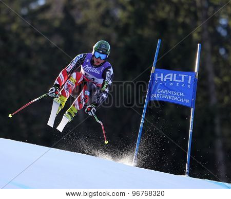 GARMISCH PARTENKIRCHEN, GERMANY. Feb 10 2011: Tim Jitloff (USA) takes to the air competing in the men's downhill training at the 2011 Alpine Skiing World Championships