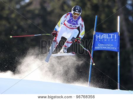 GARMISCH PARTENKIRCHEN, GERMANY. Feb 10 2011: Kevin Esteve-Rigail (AND) takes to the air competing in the men's downhill training at the 2011 Alpine Skiing World Championships