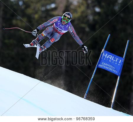 GARMISCH PARTENKIRCHEN, GERMANY. Feb 10 2011: Benjamin Thomsen (CAN) takes to the air competing in the men's downhill training at the 2011 Alpine Skiing World Championships