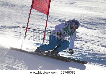 GARMISCH PARTENKIRCHEN, GERMANY. Feb 10 2011: Lindsey Vonn (USA) whilstcompeting in the women's downhill training at the 2011 Alpine Skiing World Championships