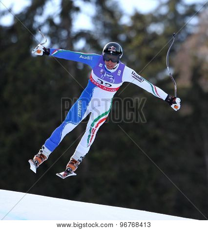 GARMISCH PARTENKIRCHEN, GERMANY. Feb 10 2011: Matteo Marsaglia (ITA) takes to the air competing in the men's downhill training at the 2011 Alpine Skiing World Championships