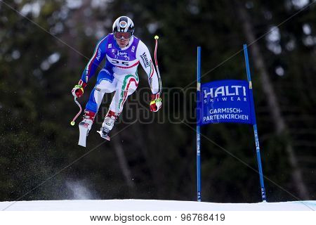 GARMISCH PARTENKIRCHEN, GERMANY. Feb 10 2011: Peter Fill (ITA) takes to the air competing in the men's downhill training at the 2011 Alpine Skiing World Championships