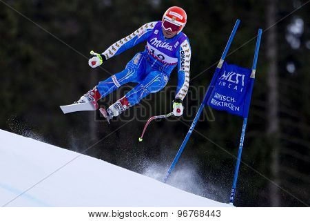 GARMISCH PARTENKIRCHEN, GERMANY. Feb 10 2011: Patrik Jaerbyn (SWE) takes to the air competing in the men's downhill training at the 2011 Alpine Skiing World Championships