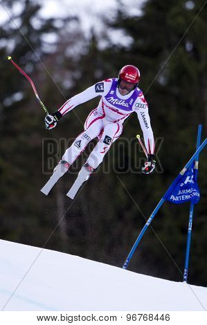 GARMISCH PARTENKIRCHEN, GERMANY. Feb 10 2011: Joachim Puchner (AUT) takes to the air competing in the men's downhill training at the 2011 Alpine Skiing World Championships