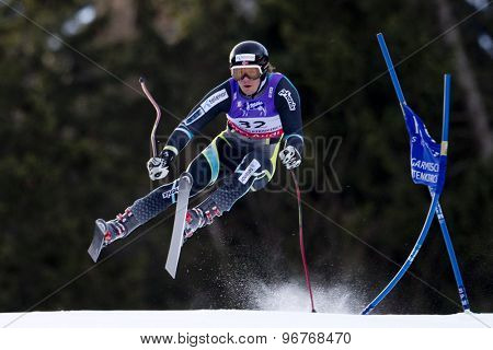 GARMISCH PARTENKIRCHEN, GERMANY. Feb 10 2011: Kjetil Jansrud (NOR) takes to the air competing in the men's downhill training at the 2011 Alpine Skiing World Championships