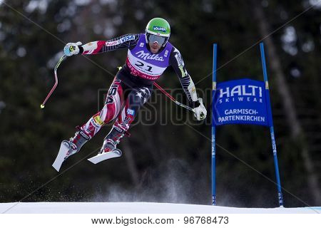 GARMISCH PARTENKIRCHEN, GERMANY. Feb 10 2011: Bode Miller (USA) takes to the air competing in the men's downhill training at the 2011 Alpine Skiing World Championships
