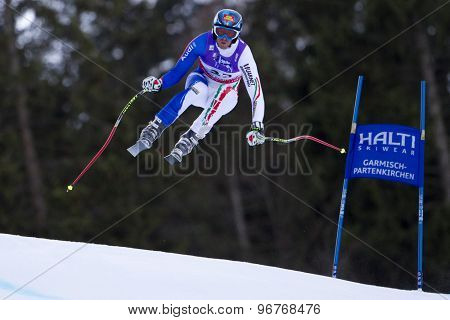 GARMISCH PARTENKIRCHEN, GERMANY. Feb 10 2011: Werner Heel (ITA) takes to the air competing in the men's downhill training at the 2011 Alpine Skiing World Championships