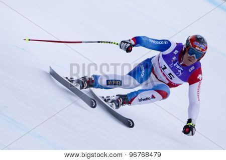 GARMISCH PARTENKIRCHEN, GERMANY. Feb 10 2011:  Didier Cuche (SUI) competing in the men's downhill training at the 2011 Alpine Skiing World Championships
