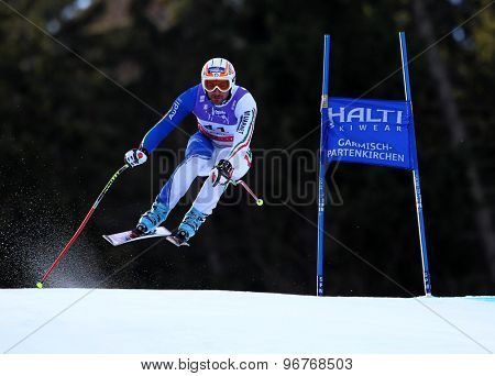 GARMISCH PARTENKIRCHEN, GERMANY. Feb 10 2011: Paolo Pangrazzi (ITA) takes to the air competing in the men's downhill training at the 2011 Alpine Skiing World Championships