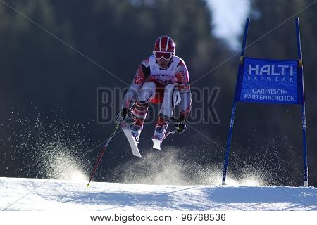 GARMISCH PARTENKIRCHEN, GERMANY. Feb 09 2011: Maciej Bydlinski (POL) whilst competing in the men's super giant slalom race at the 2011 Alpine skiing World Championships