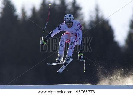 GARMISCH PARTENKIRCHEN, GERMANY. Feb 09 2011: Romed Baumann (AUT) whilst competing in the men's super giant slalom race at the 2011 Alpine skiing World Championships