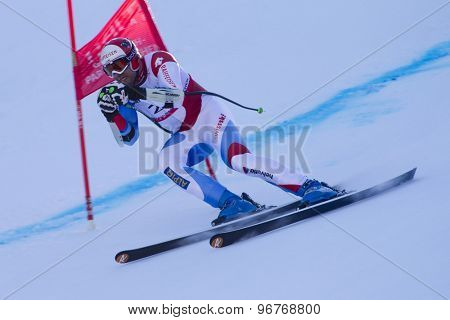GARMISCH PARTENKIRCHEN, GERMANY. Feb 09 2011: Silvan Zurbriggen (SUI) whilst competing in the men's super giant slalom race at the 2011 Alpine skiing World Championships