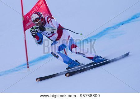 GARMISCH PARTENKIRCHEN, GERMANY. Feb 09 2011: Silvan Zurbriggen (SUI) whilst competing in the men's super giant slalom race at the 2011 Alpine skiing World Championships