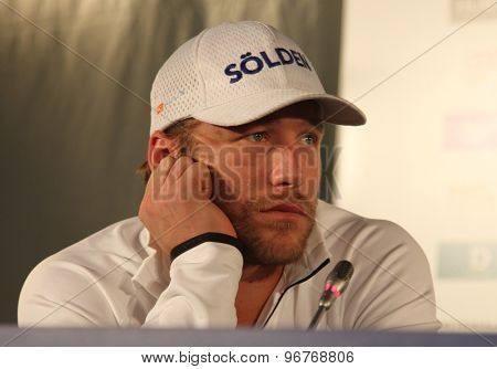 GARMISCH PARTENKIRCHEN, GERMANY. Feb 08 2011: Bode Miller (USA) during the US Alpine Ski Team press conference at the 2011 Alpine skiing World Championships