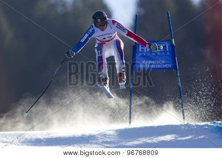 GARMISCH PARTENKIRCHEN, GERMANY. Feb 09 2011: Stepan Zuev (RUS) whilst competing in the men's super giant slalom race at the 2011 Alpine skiing World Championships