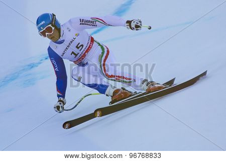GARMISCH PARTENKIRCHEN, GERMANY. Feb 09 2011: Christof Innerhofer (ITA) whilst competing in the men's super giant slalom race at the 2011 Alpine skiing World Championships