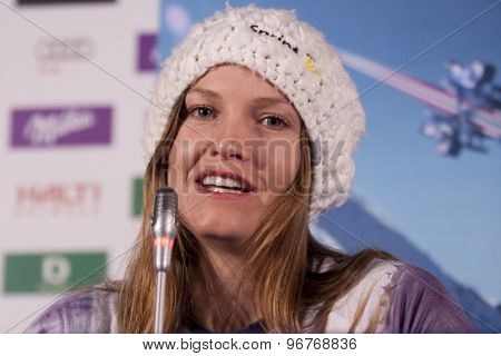 GARMISCH PARTENKIRCHEN, GERMANY. Feb 07 2011: Julia Mancuso  from the US Ski team at the USSA press conference prior to the 2011 Alpine skiing World Championships