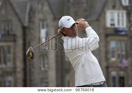 ST ANDREWS, SCOTLAND. July 18 2010: Lucas GLOVER from the USA in action during the final round of The Open Championship   played on The Royal and Ancient Old Course