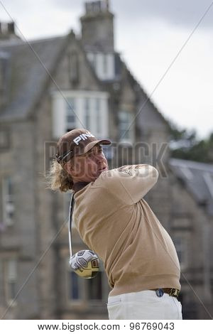 ST ANDREWS, SCOTLAND. July 18 2010: Miguel Angel JIMENEZ from Spain in action during the final round of The Open Championship   played on The Royal and Ancient Old Course