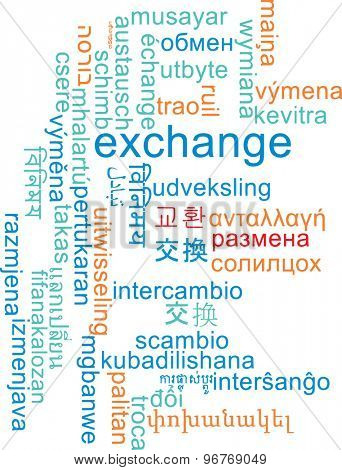 Background concept wordcloud multilanguage international many language illustration of exchange