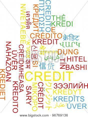 Background concept wordcloud multilanguage international many language illustration of credit