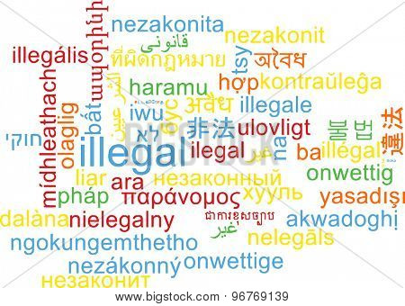 Background concept wordcloud multilanguage international many language illustration of illegal