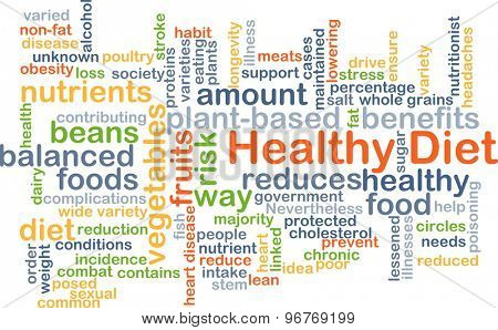 Background concept wordcloud illustration of healthy diet