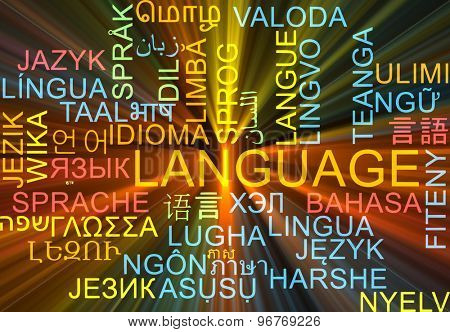 Background concept wordcloud multilanguage international many language illustration of language glowing light