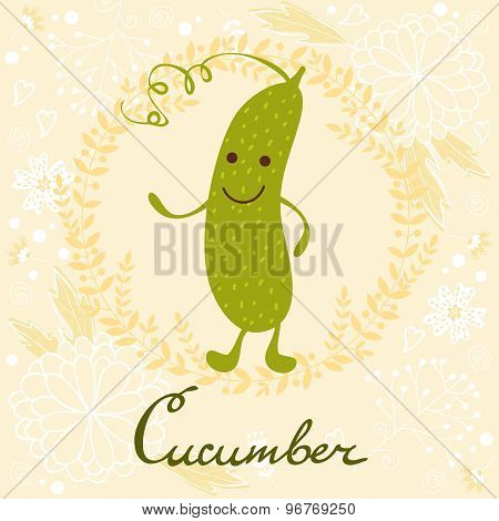 Cute sweet cucumber character illustration