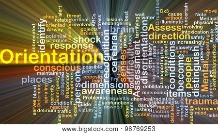Background concept wordcloud illustration of orientation glowing light
