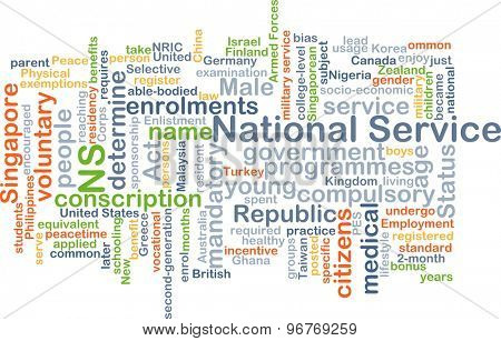 Background concept wordcloud illustration of national service