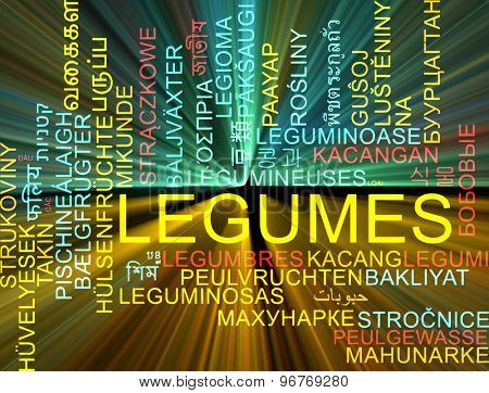 Background concept wordcloud multilanguage international many language illustration of legumes glowing light