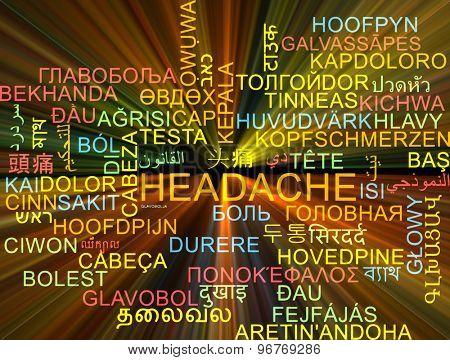 Background concept wordcloud multilanguage international many language illustration of headache glowing light