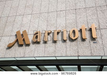 SINGAPORE - CIRCA FEBRUARY, 2015: Sign Marriott on the hotel. Marriott International, Inc. is an American diversified hospitality company that manages and franchises a broad portfolio of hotels.