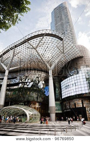 SINGAPORE - CIRCA FEBRUARY, 2015: ION Orchard - one of the best shopping centers on Orchard Road. More than 300 stores of world famous brands are placed on the 61,600 m2 of retail space market mall.