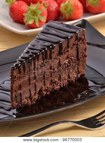 Chocolate slice cake piece dish.