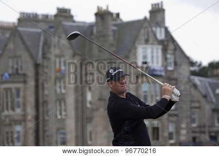 ST ANDREWS, SCOTLAND. July 18 2010: Peter HANSON from Sweden in action during the final round of The Open Championship   played on The Royal and Ancient Old Course