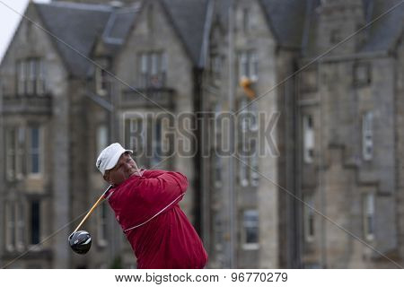 ST ANDREWS, SCOTLAND. July 18 2010: John DALY from the USA in action during the final round of The Open Championship   played on The Royal and Ancient Old Course
