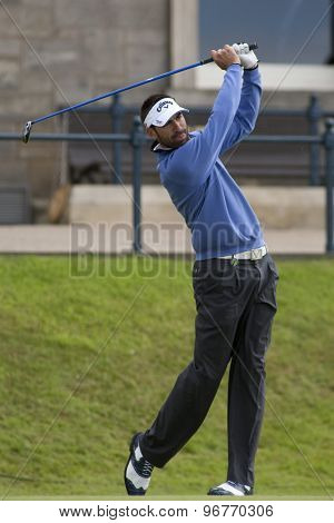 ST ANDREWS, SCOTLAND. July 17 2010: Alvaro QUIROS from Spain in action during the third round of The Open Championship   played on The Royal and Ancient Old Course