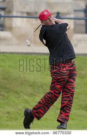 ST ANDREWS, SCOTLAND. July 17 2010: John DALY from the USA in action during the third round of The Open Championship   played on The Royal and Ancient Old Course