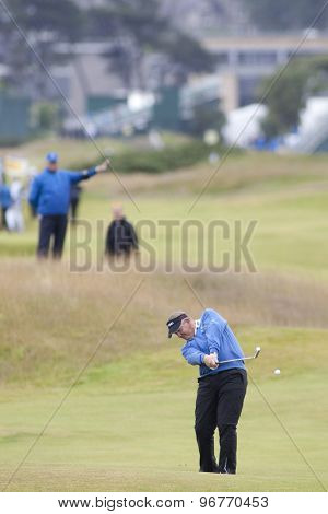 ST ANDREWS, SCOTLAND. July 16 2010: Colin MONTGOMERIE from Scotland in action on the second day of The Open Championship   played on The Royal and Ancient Old Course