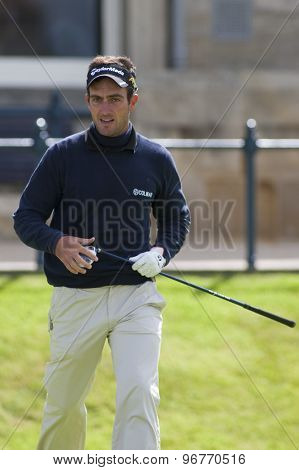 ST ANDREWS, SCOTLAND. July 17 2010: Edoardo MOLINARI from Italy in action during the third round of The Open Championship   played on The Royal and Ancient Old Course