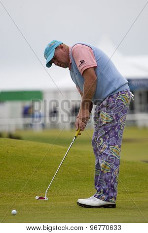 ST ANDREWS, SCOTLAND. July 15 2010: John DALY from the USA in action on the first day of The Open Championship   played on The Royal and Ancient Old Course