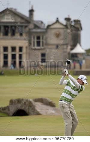 ST ANDREWS, SCOTLAND. July 15 2010: Nick WATNEY from the USA in action on the first day of The Open Championship   played on The Royal and Ancient Old Course