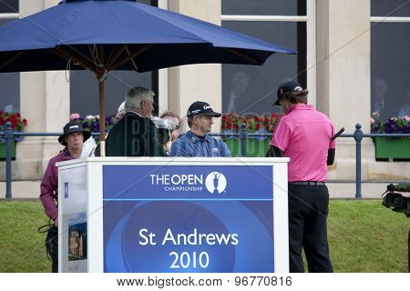ST ANDREWS, SCOTLAND. July 15 2010: Retief GOOSEN from South Africa and Phil MICKELSON from USA in action on the first day of The Open Championship   played on The Royal and Ancient Old Course
