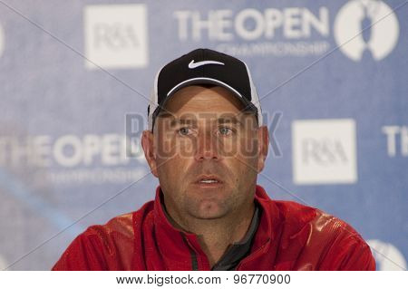 ST ANDREWS, SCOTLAND. July 14 2010: Stewart CINK from the USA during his press conference on a preview day for The Open Championship   played on The Royal and Ancient Old Course