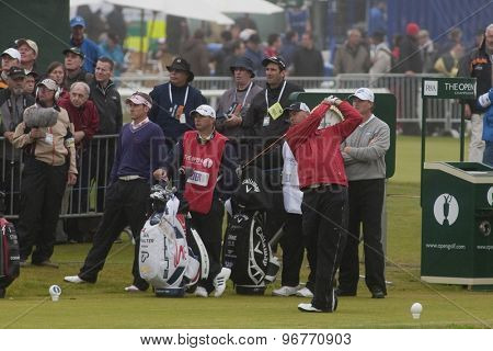 ST ANDREWS, SCOTLAND. July 15 2010: Stewart CINK from the USA in action on the first day of The Open Championship   played on The Royal and Ancient Old Course