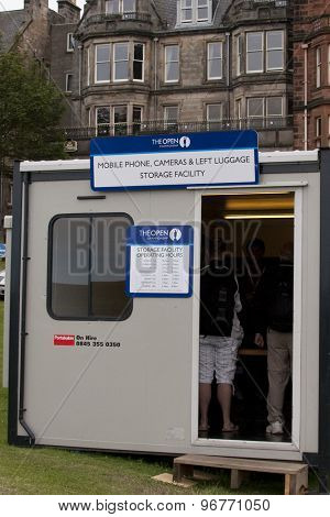 ST ANDREWS, SCOTLAND. July 13 2010: A portacabin where all mobile phones are dropped off, as their is a strict no phone policy in force. at The Open Championship